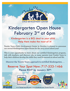 Kindergarten 2015-2016 Open House at Tender Years Child Development Center in Hershey, PA